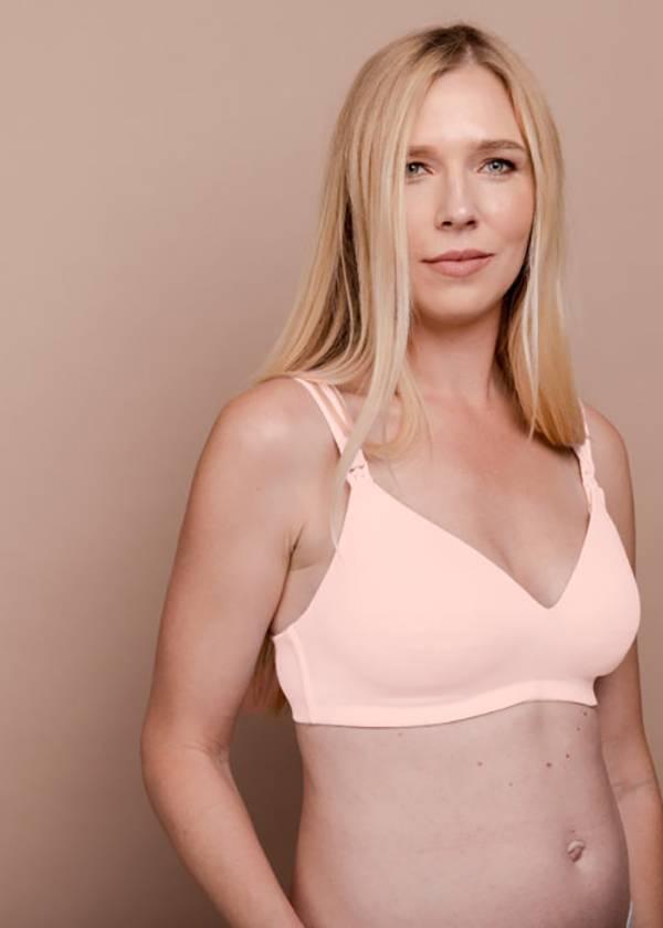 model wearing a light pink nursing bra by Apparelmark and Imalac
